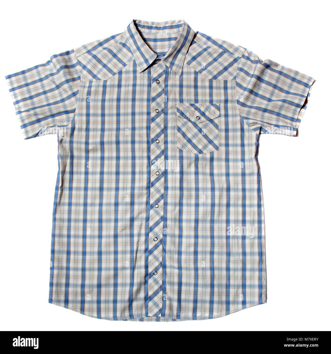 Camiseta de manga corta sobre un fondo blanco. Imagen De Stock