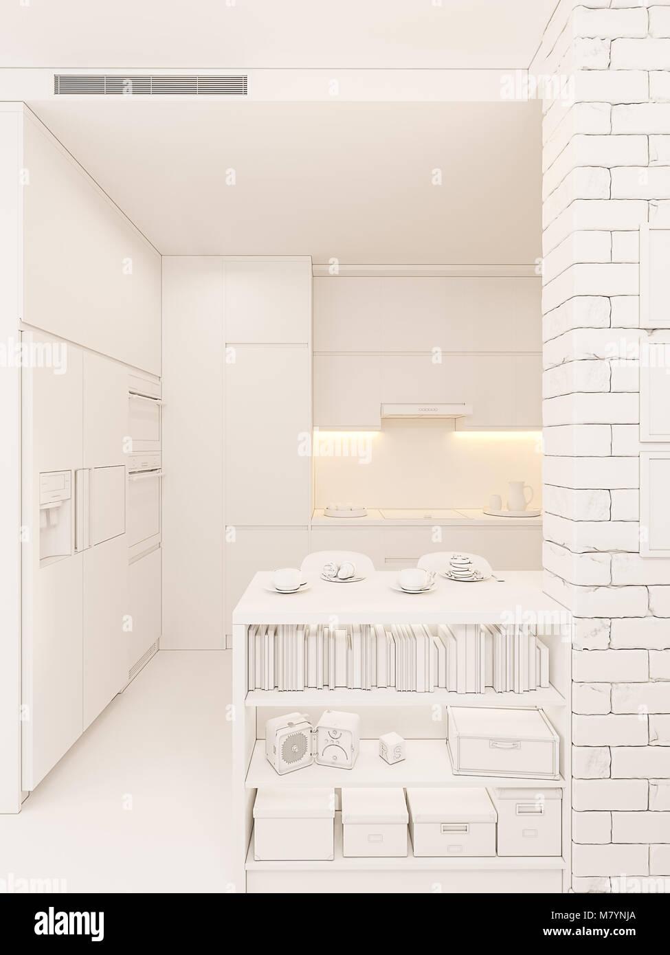 Ilustración 3d diseño interior cocina panorama en color blanco ...