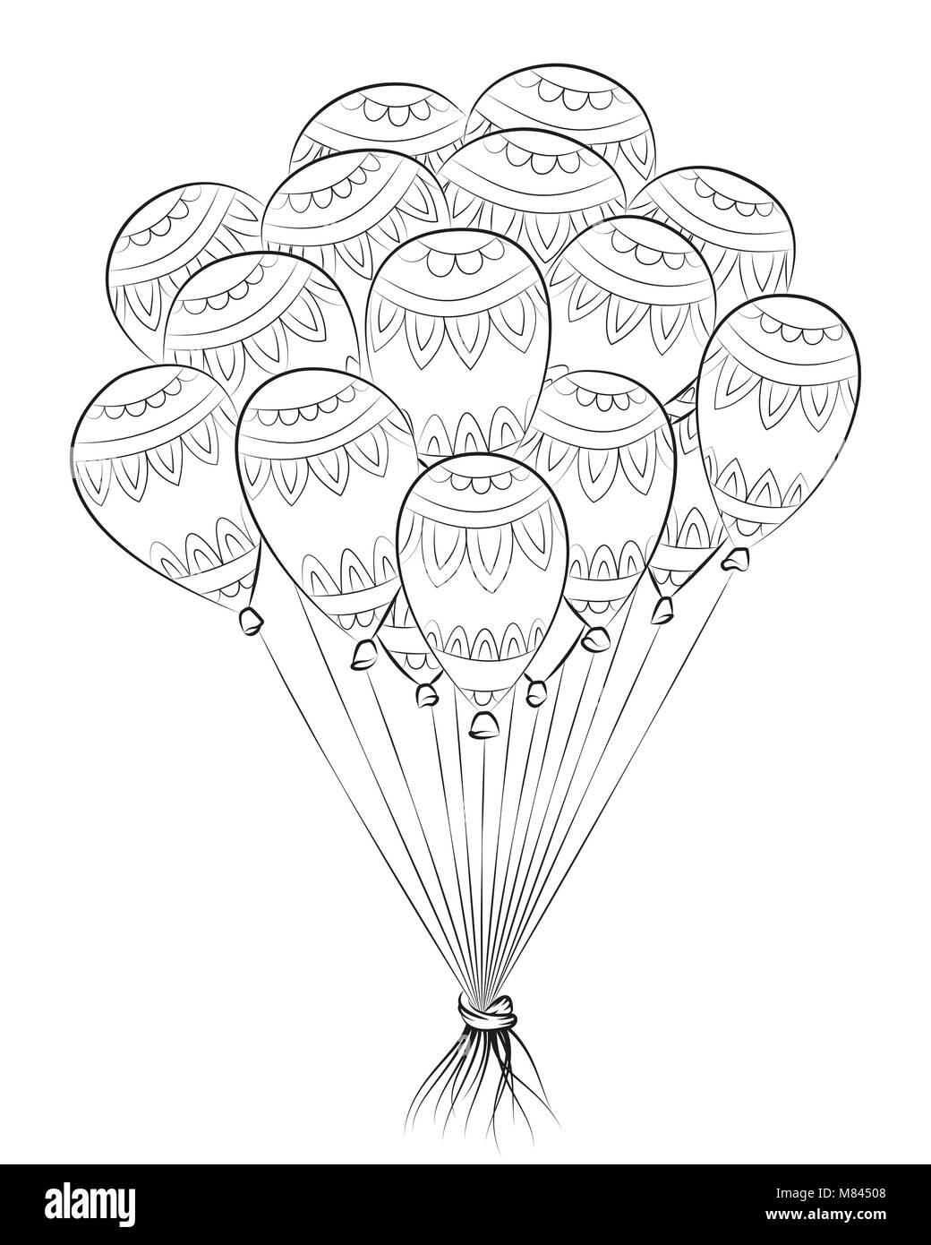 Maraña Zen globo. Feliz cumpleaños zentangle ilustración vectorial ...