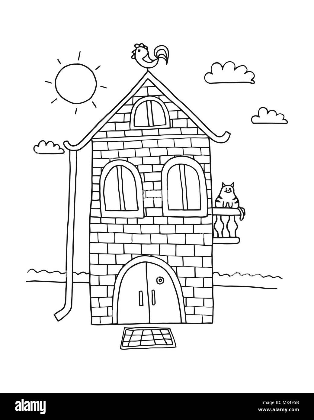 Casas En Blanco Y Negro Para Colorear Ilustración De La Casa Aislada ...