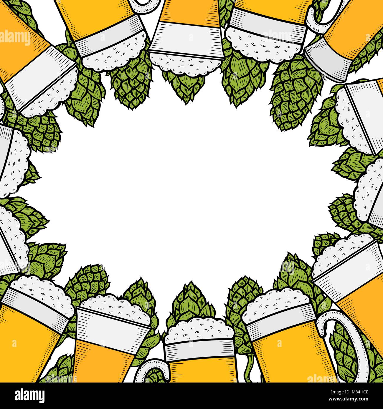 Menú cerveza colorido plantilla de diseño. Ilustración grabada con ...