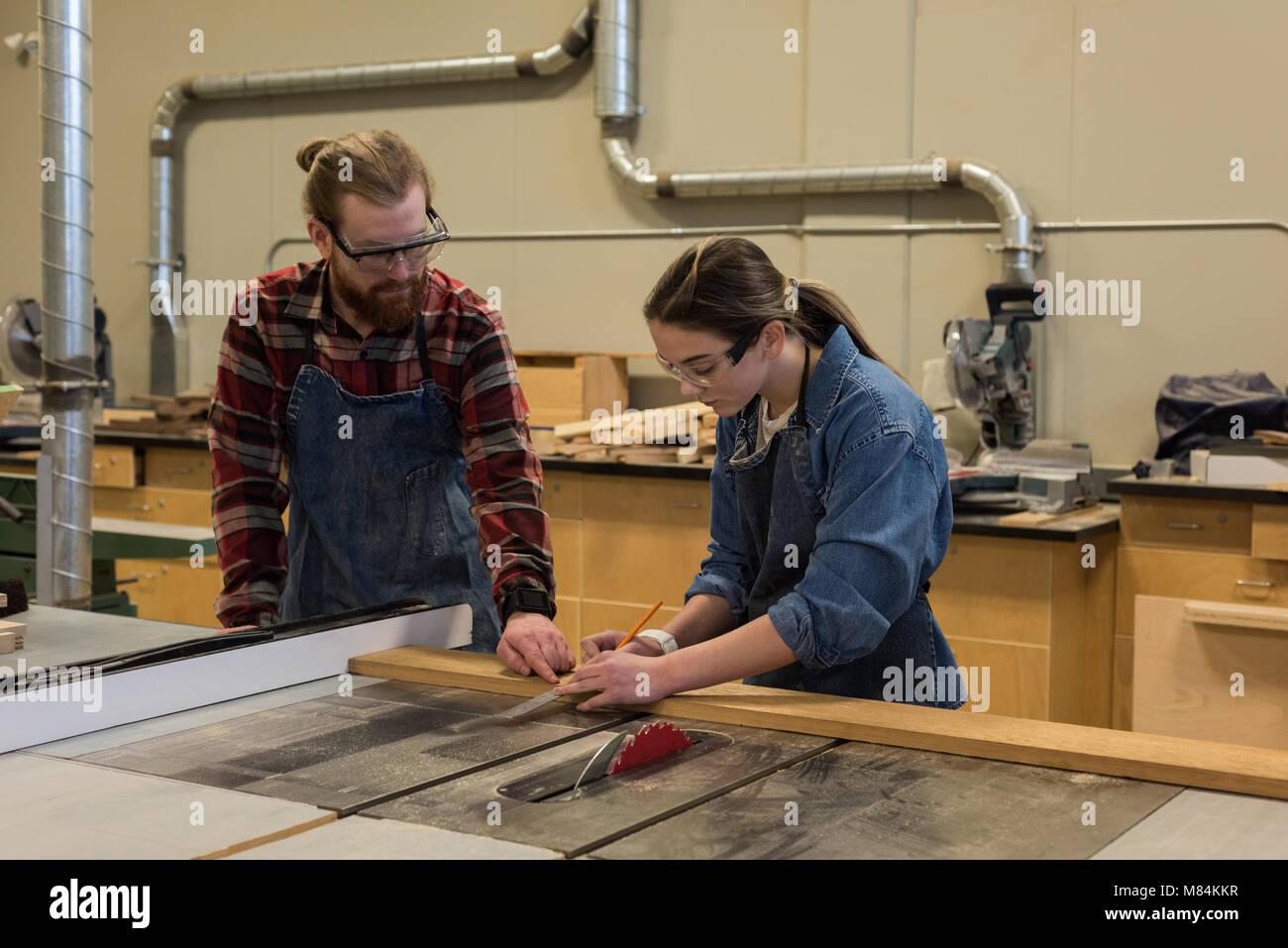 Macho y hembra carpinteros trabajando juntos Imagen De Stock