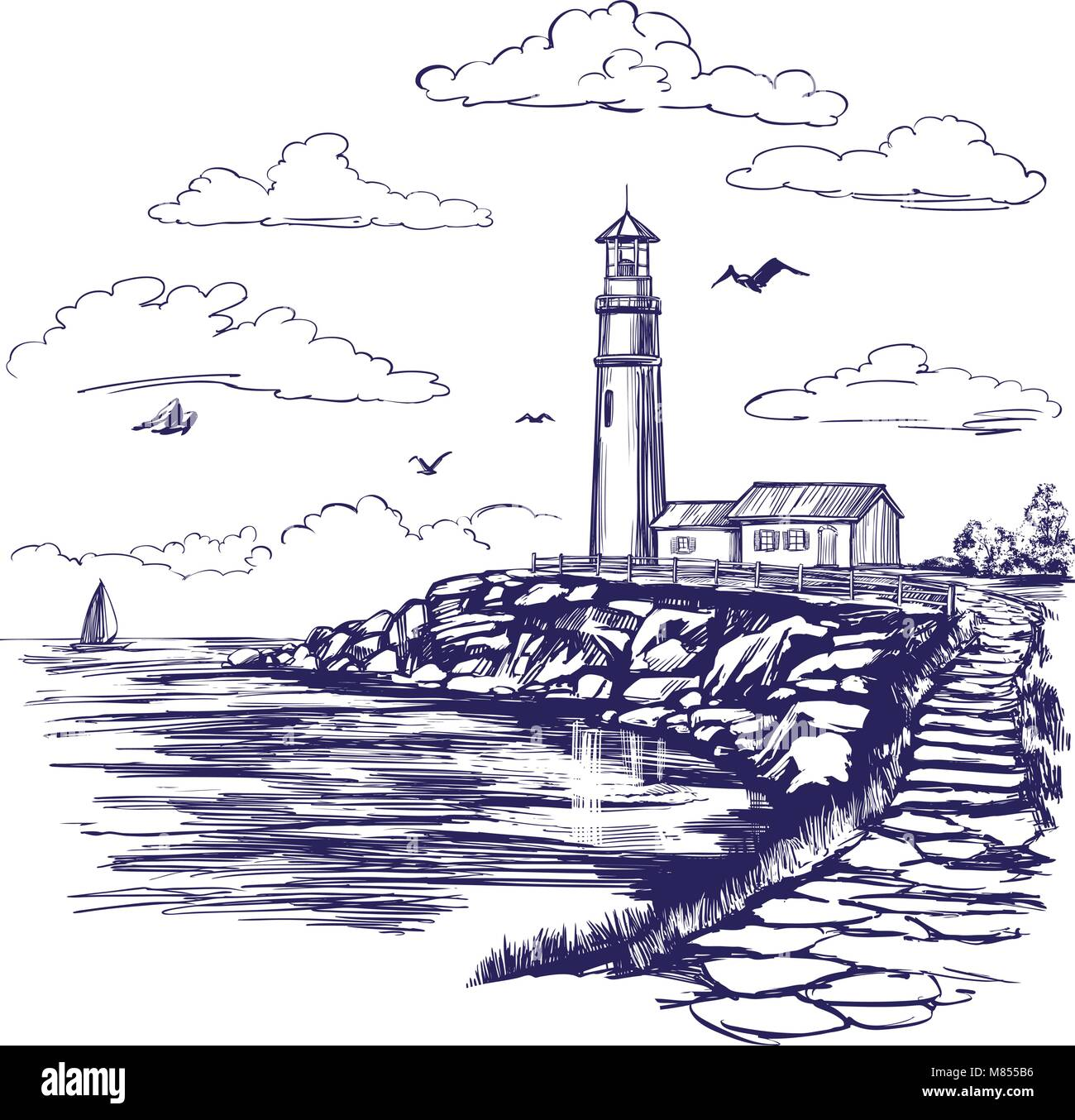 Faro Y El Paisaje Del Mar Dibujadas A Mano Ilustracion Vectorial