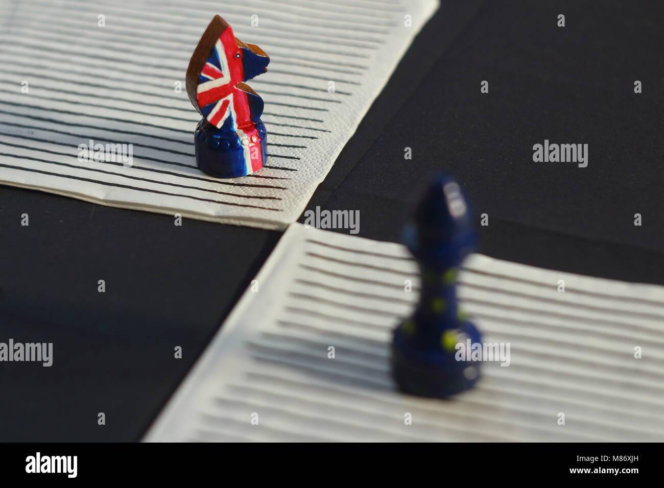 Juego de ajedrez de confrontación de las naciones de Europa y Gran Bretaña Imagen De Stock