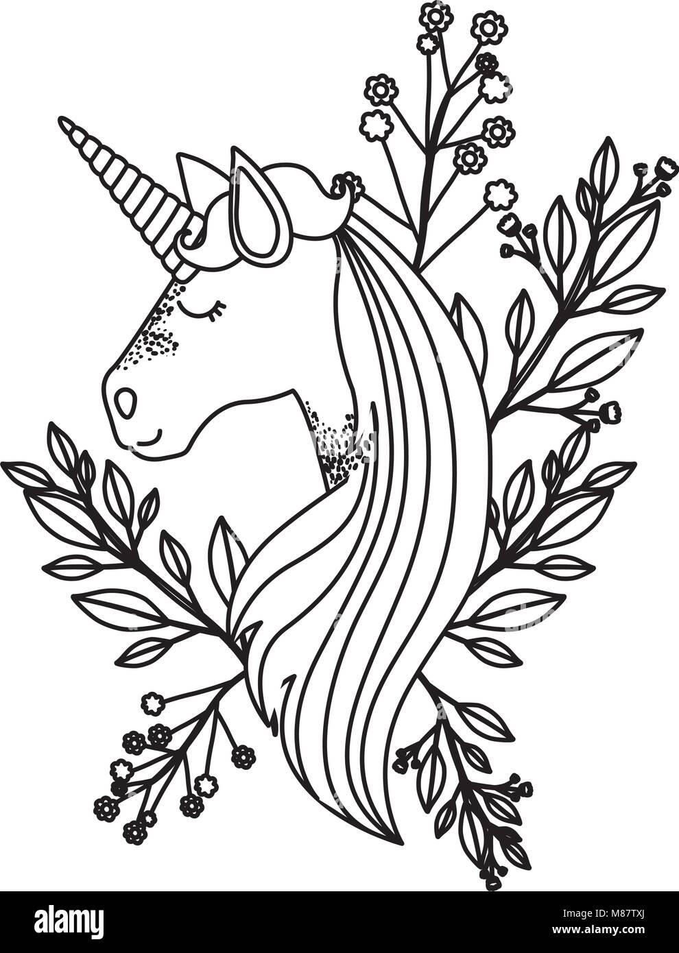 Silueta Monocroma De Unicornio Cara Y Decoración Floral Ilustración