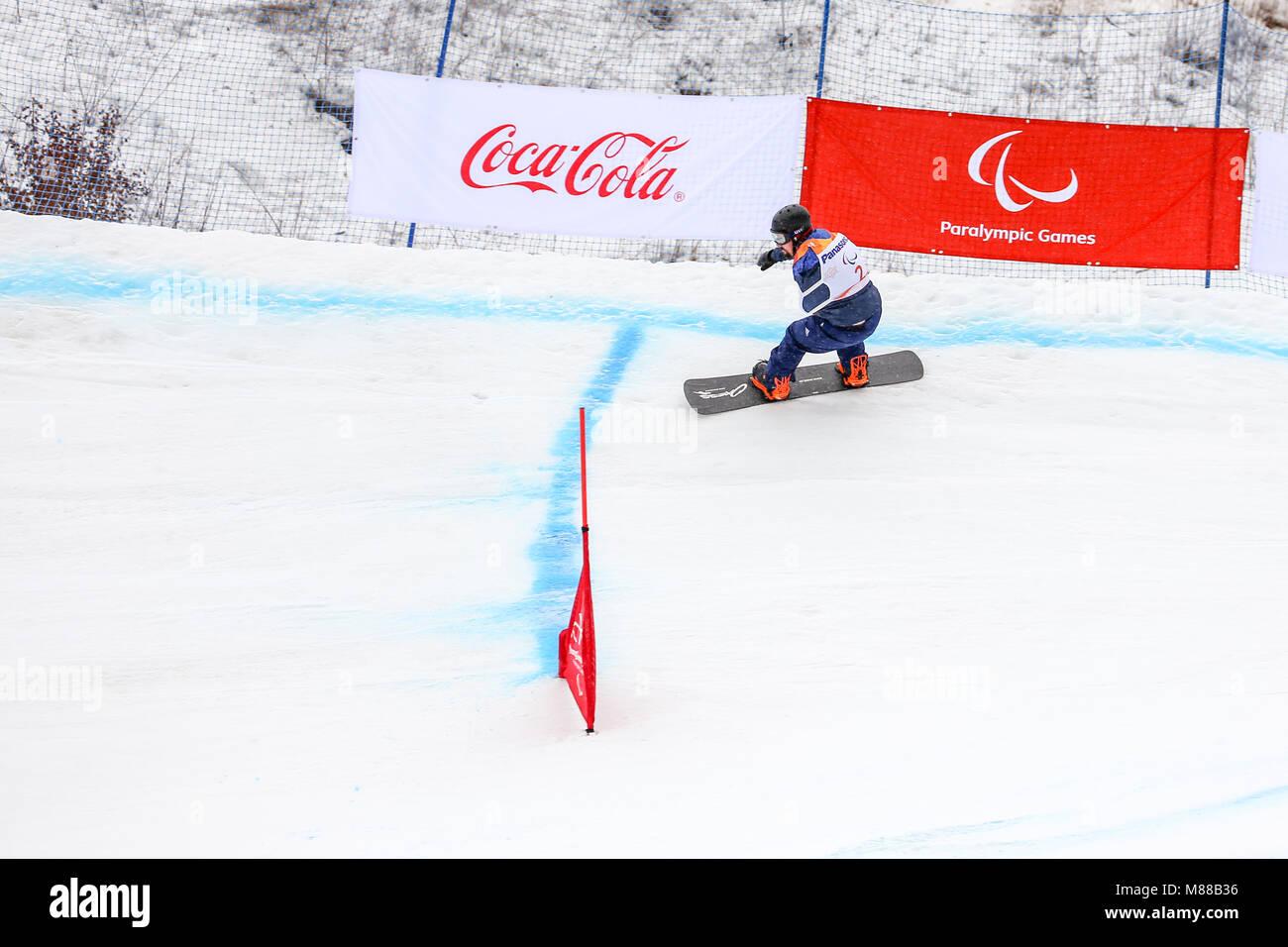 PyeongChang, Corea del Sur. El 16 de marzo, 2018. Para Snowboard ...
