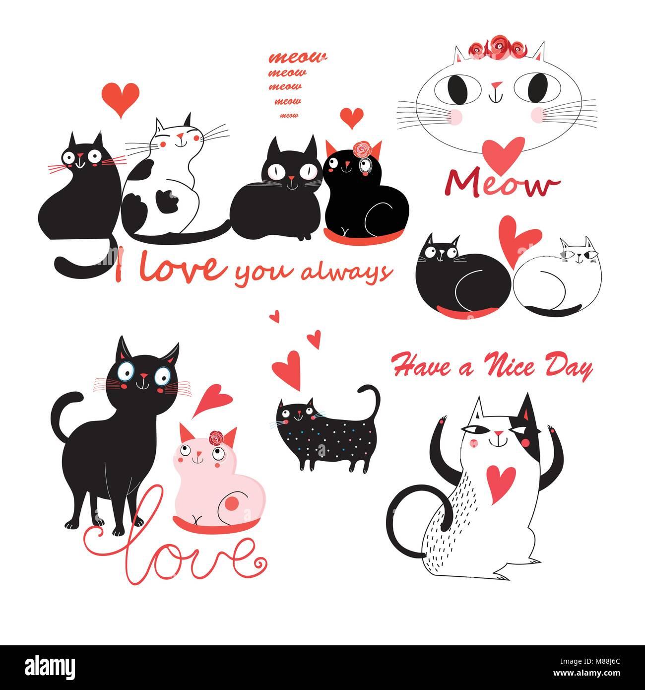 Vector gracioso festivo conjunto de gatos lindos enamorado sobre un ...