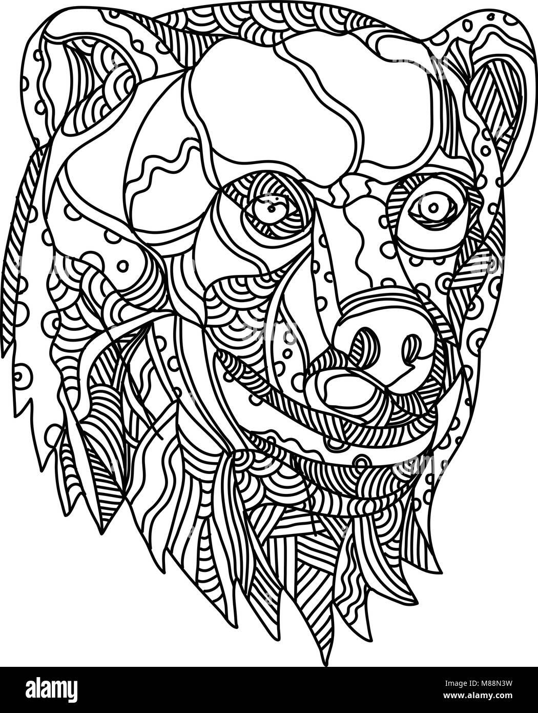 Doodle Art Illustration De La Cabeza De Un Oso Pardo Carnivoran