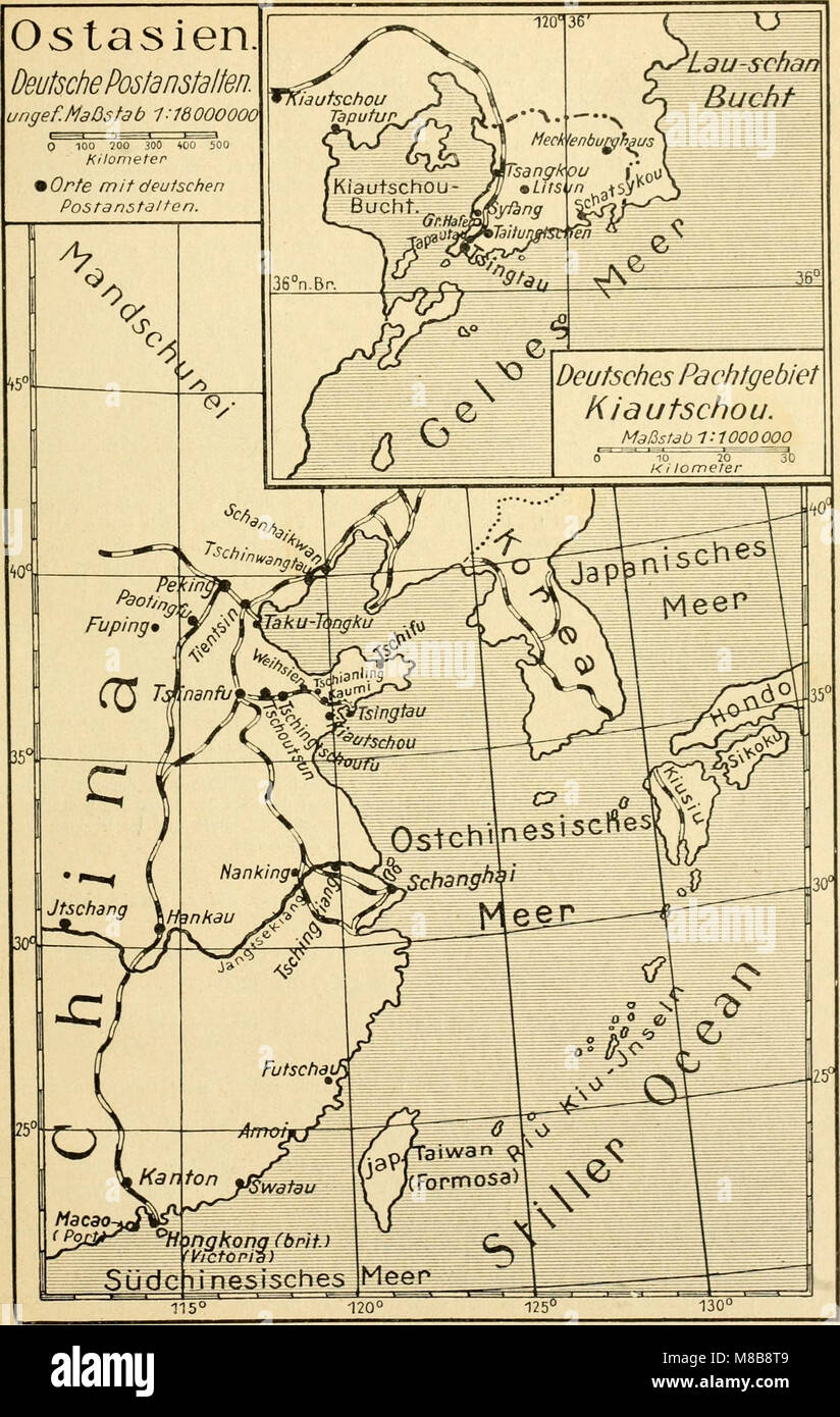 Die postwertzeichen und der deutschen postanstalten entwertungen in den schutzgebieten und im auslande (1921) (14744799346) Foto de stock