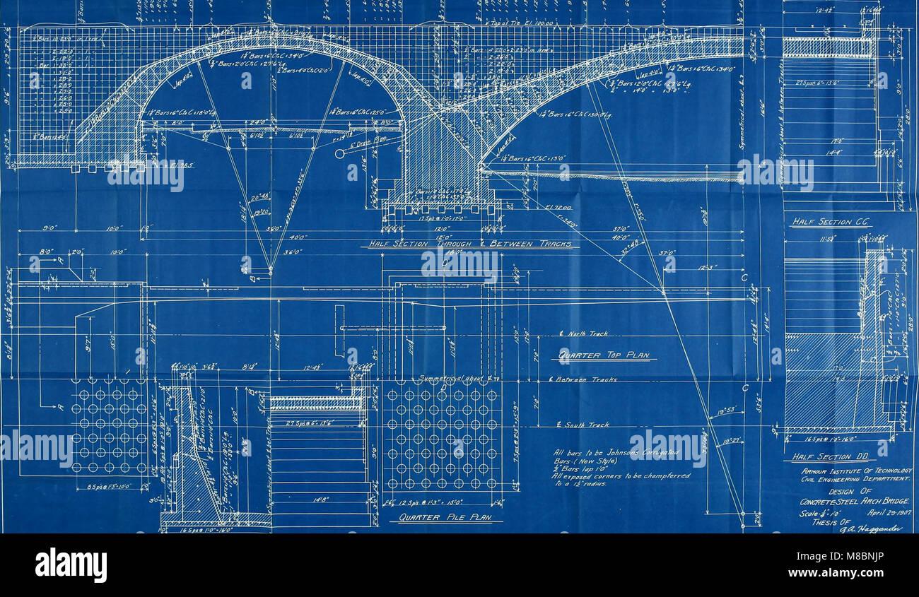Diseño de tres span doble vía férrea Puente arco de hormigón armado (1907) (14760844195) Foto de stock