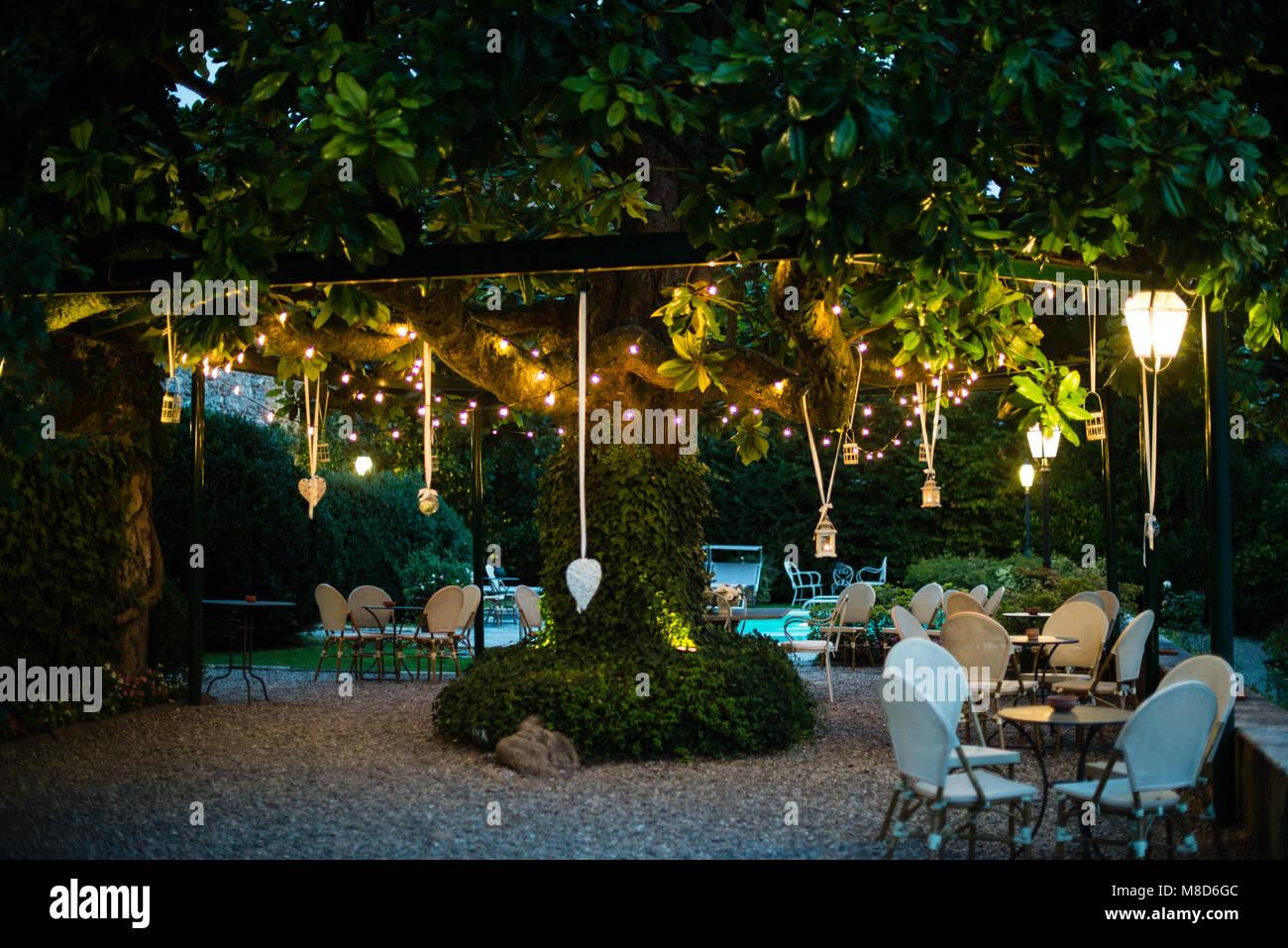 Villa con gran jardín con muchos árboles de magnolia farolillos y bombillas  de luz eléctrica colgando de sus ramas fd90f682301