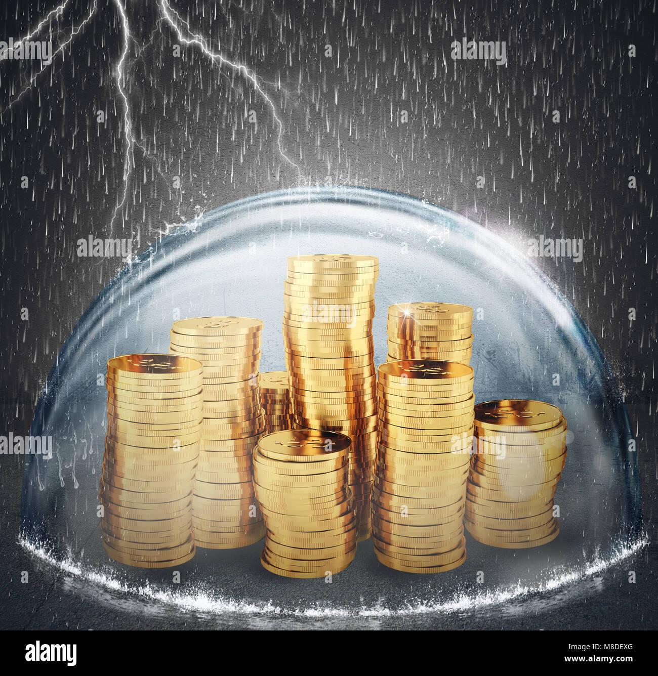 Proteger el ahorro. Concepto de seguros y protección del dinero. 3D Rendering Imagen De Stock