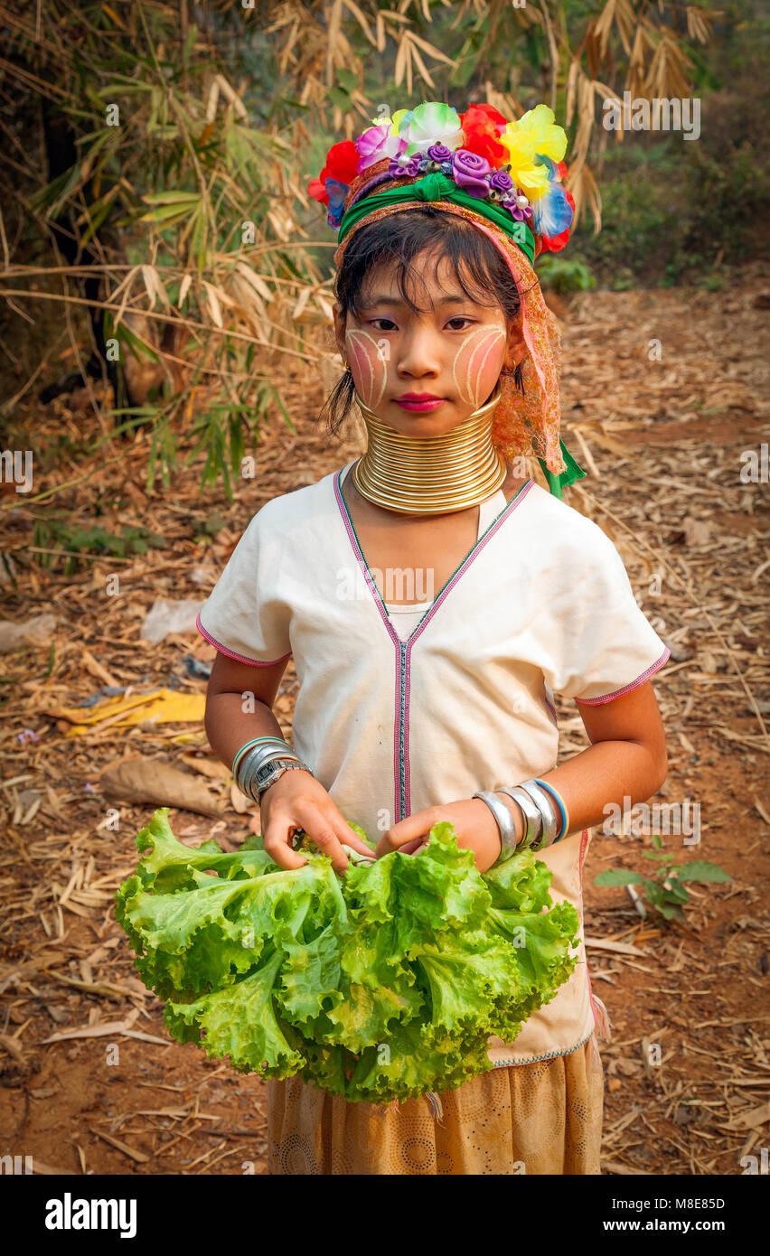 El pueblo Karen de cuello largo del norte de Tailandia;que Tom;Chaing Mai Provinnce Imagen De Stock