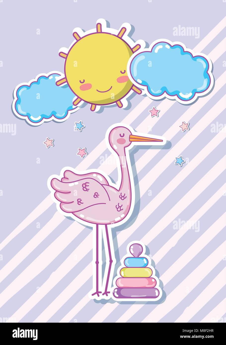 Cigüeña Cute Dibujos Animados Con El Juguete Para Bebés Ilustración