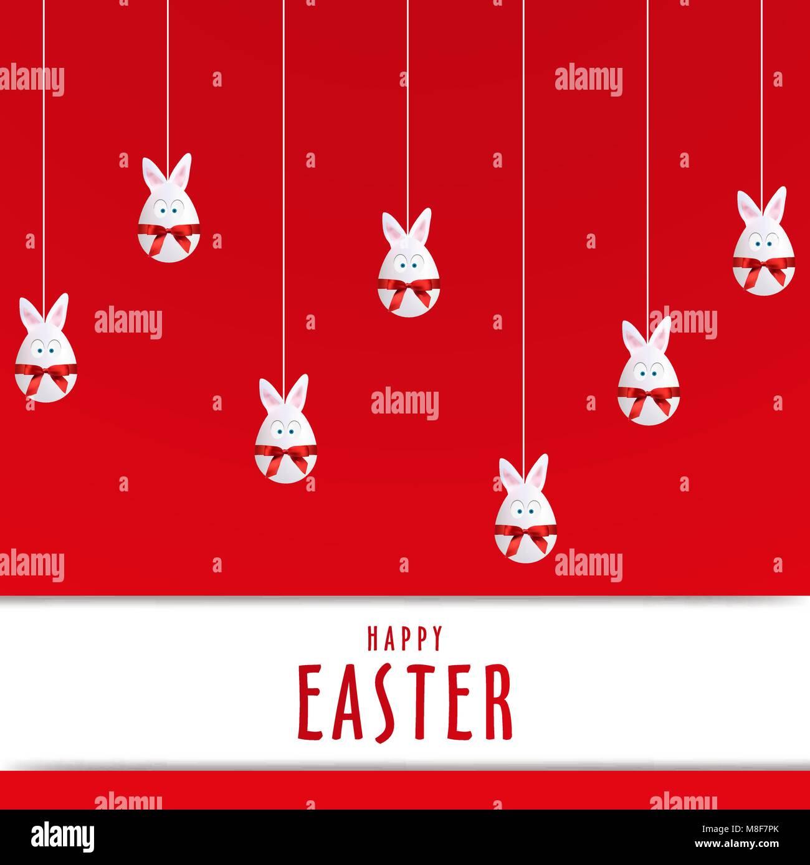 Huevo de Pascua feliz simple cartel de conejo, Vector, la ilustración, el archivo Eps Imagen De Stock