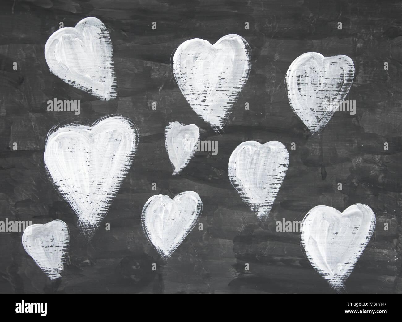 Mano Pintada En Blanco Y Negro Amor Corazones Foto Imagen De Stock