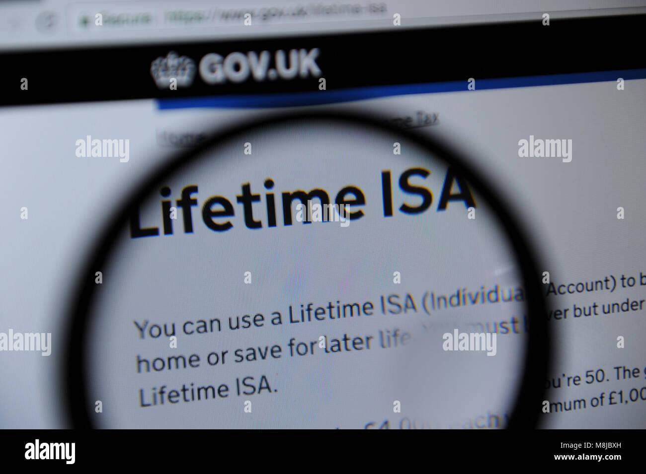 Vida ISA detalles sobre el sitio web del Gobierno de Reino Unido Imagen De Stock