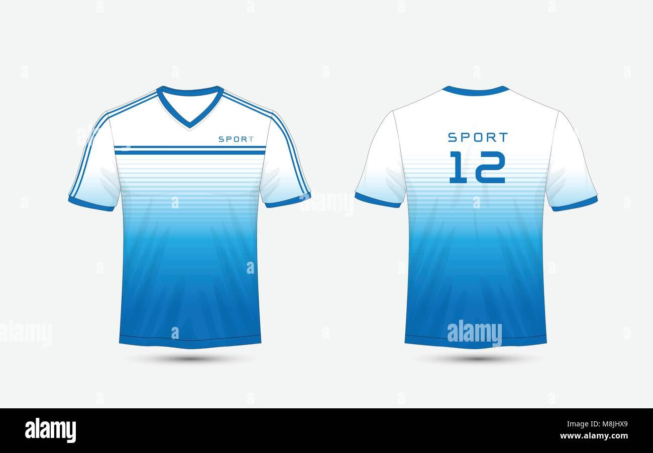 Diseño de líneas azules y blancos de fútbol camiseta deportiva 02e496b2a6a7d