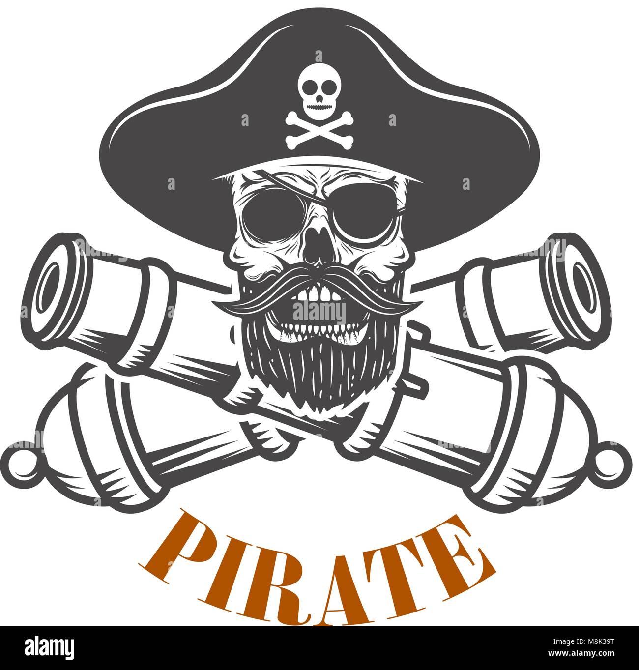 Los piratas. Plantilla del emblema con cañones y calavera pirata ...