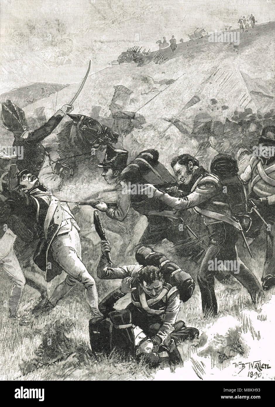 El stand de la Fusiliers, Batalla de Albuera, el 16 de mayo de 1811, la Guerra Peninsular, Guerras Napoleónicas Foto de stock