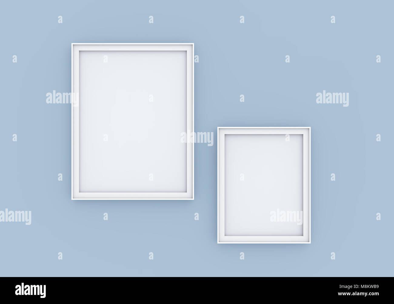 Marco de imagen en blanco boceto, 3D Render conjunto de marcos en la ...