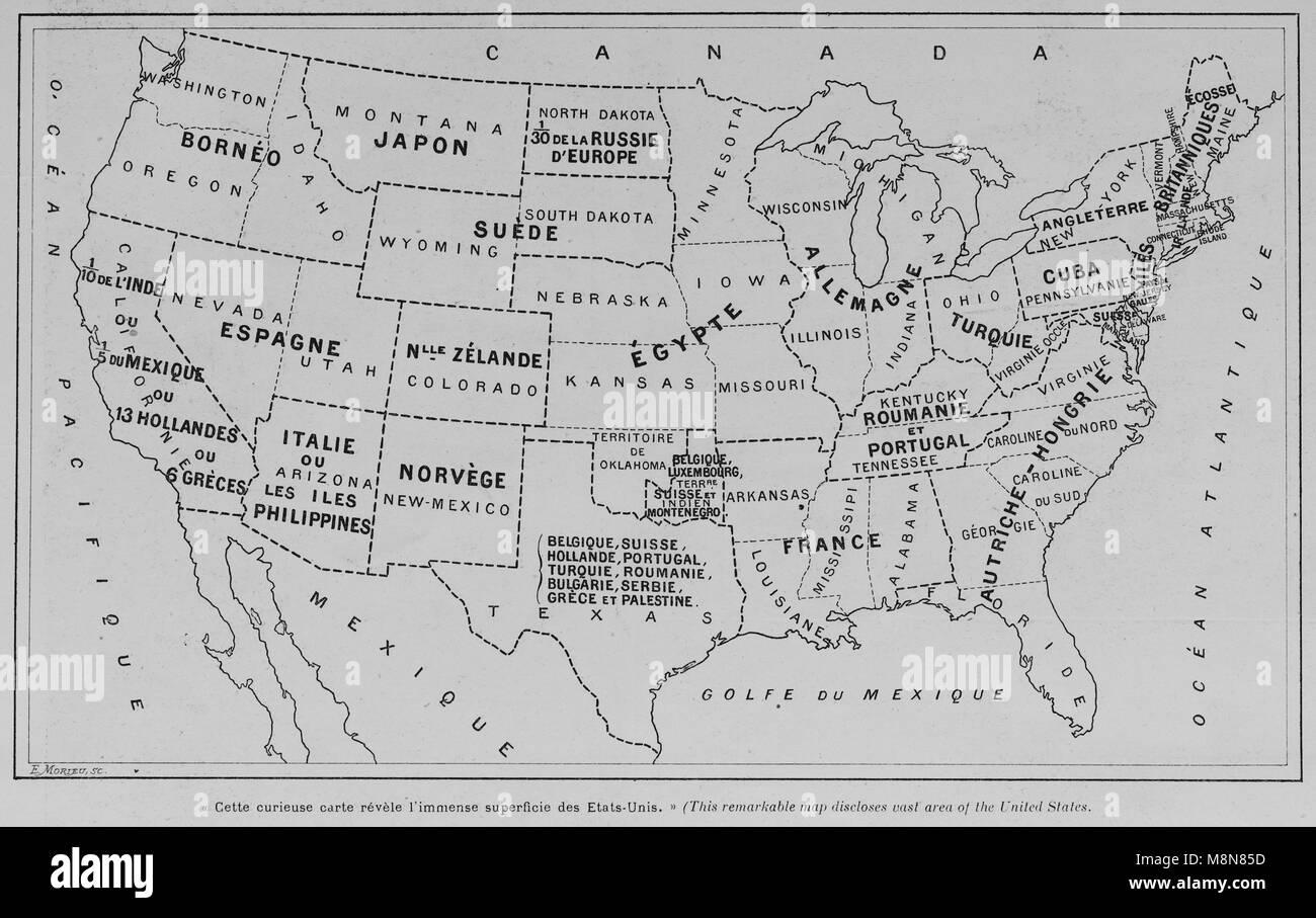 Mapa de los Estados Unidos en el año 1900 comparando el país con otros países de Europa, África Imagen De Stock