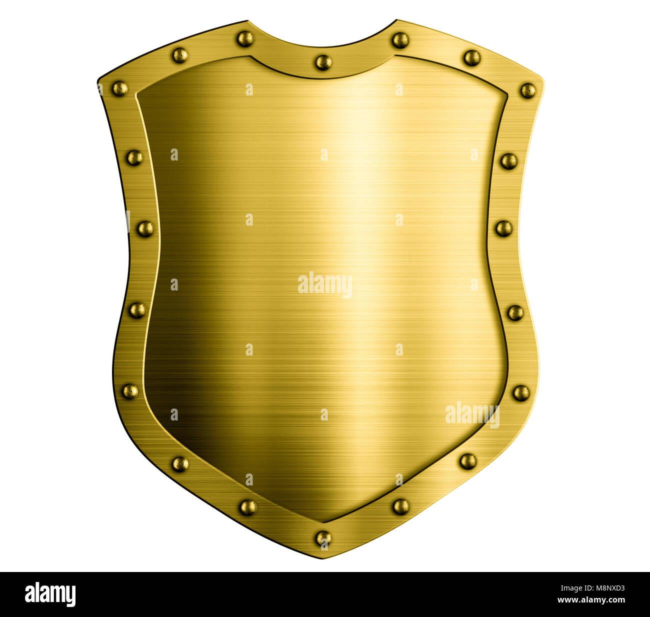 Escudo de oro medieval Metal aislado ilustración 3d Imagen De Stock