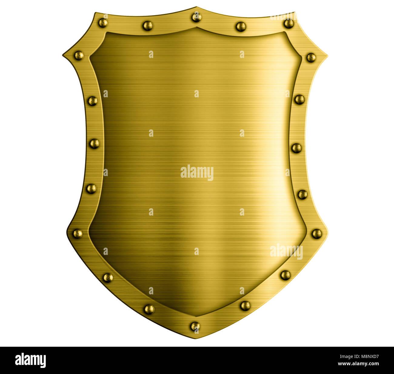 Escudo De Metal bronce medieval aislado ilustración 3d Imagen De Stock