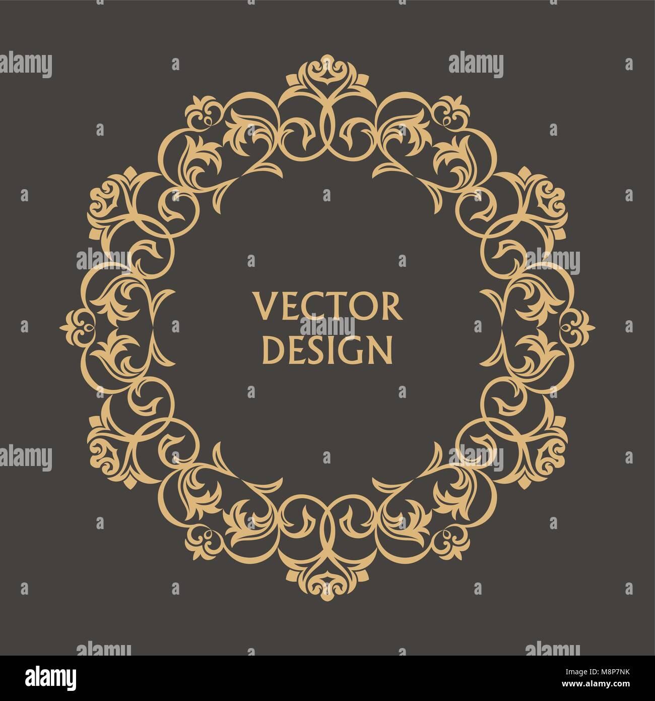 Patrón barroco circular. Ronda ornamento floral. Bastidor Vintage ...