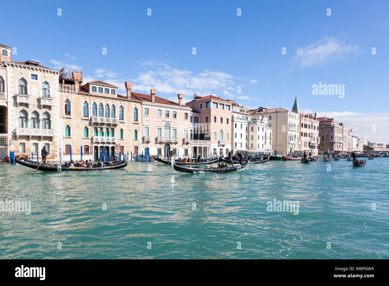 Ocupado con el tráfico de turistas paseos en góndola en el Gran Canal y la cuenca de San Marcos, San Marco, Imagen De Stock