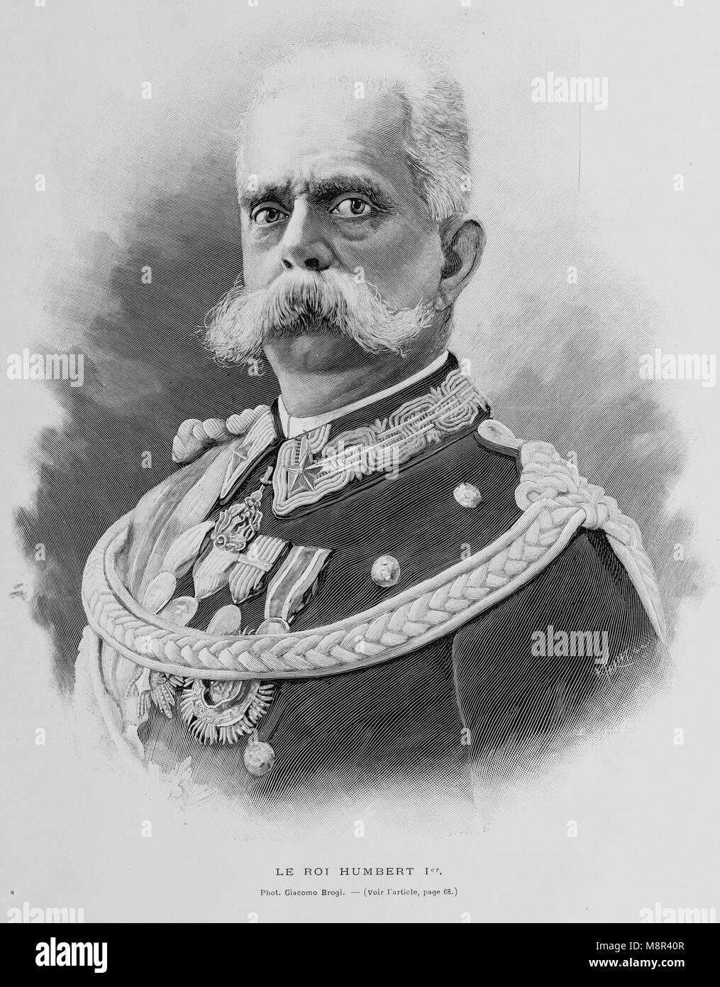 El rey Humberto I de Italia antes de su asesinato, imagen del semanario francés l'Illustration, 4º de agosto de Foto de stock
