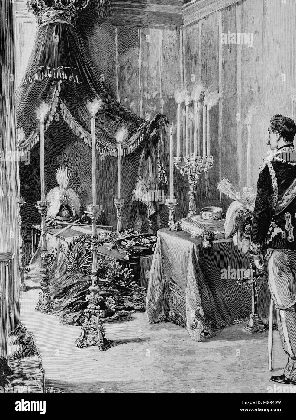 Ataúd del rey Humberto I custodiada por el duque de Aosta en el castillo de Monza, imagen del semanario francés Imagen De Stock