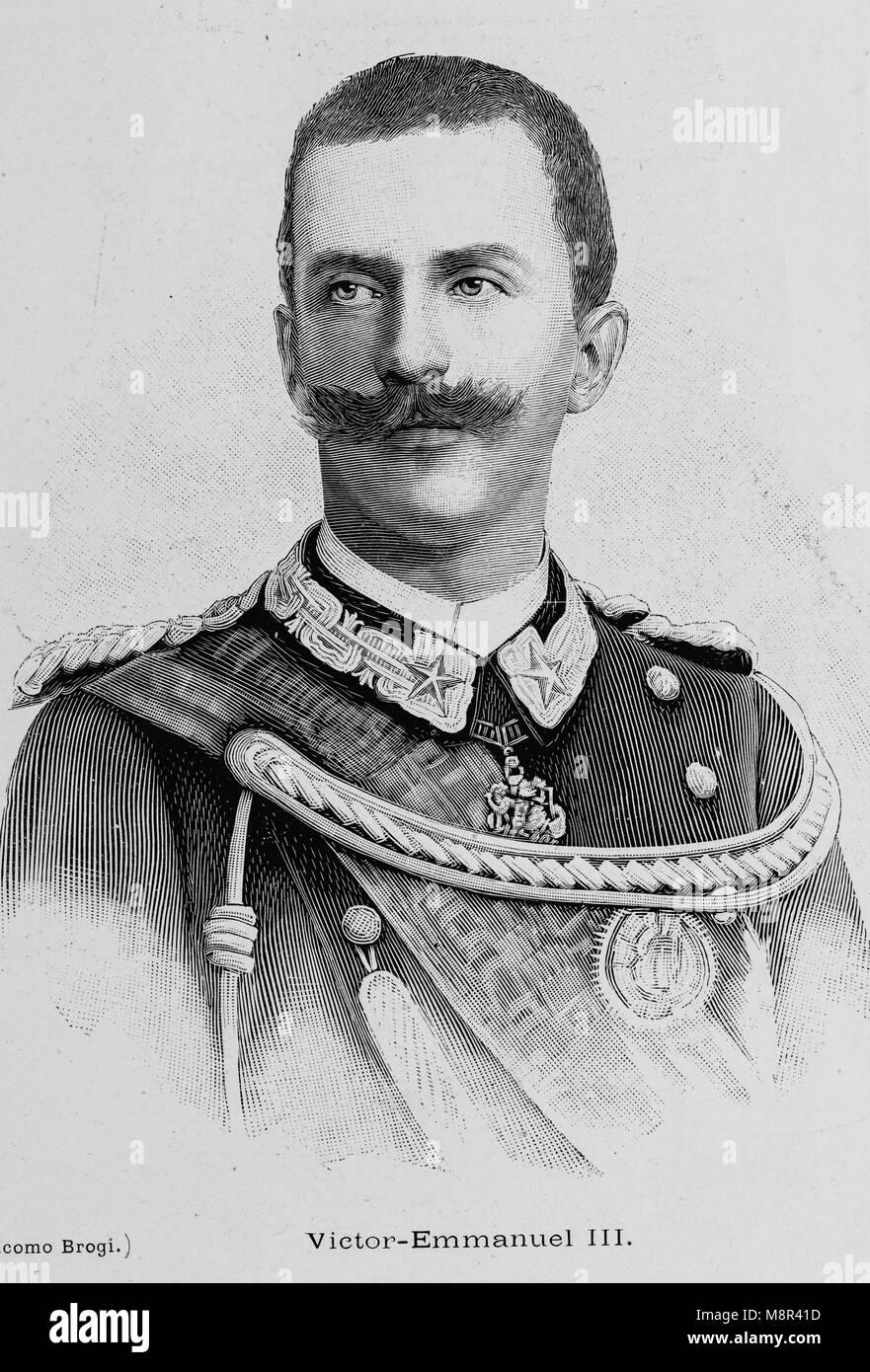 El rey Victor Emmanuel III de Italia, imagen del semanario francés l'Illustration, 4º de agosto de Imagen De Stock