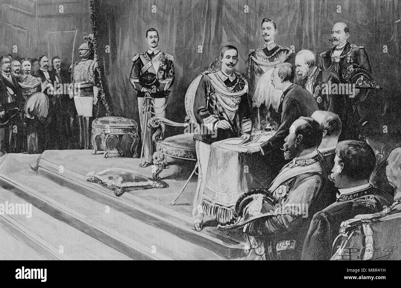 El rey Victor Emmanuel III de Italia durante su coronación, imagen del semanario francés l'Illustration, Imagen De Stock