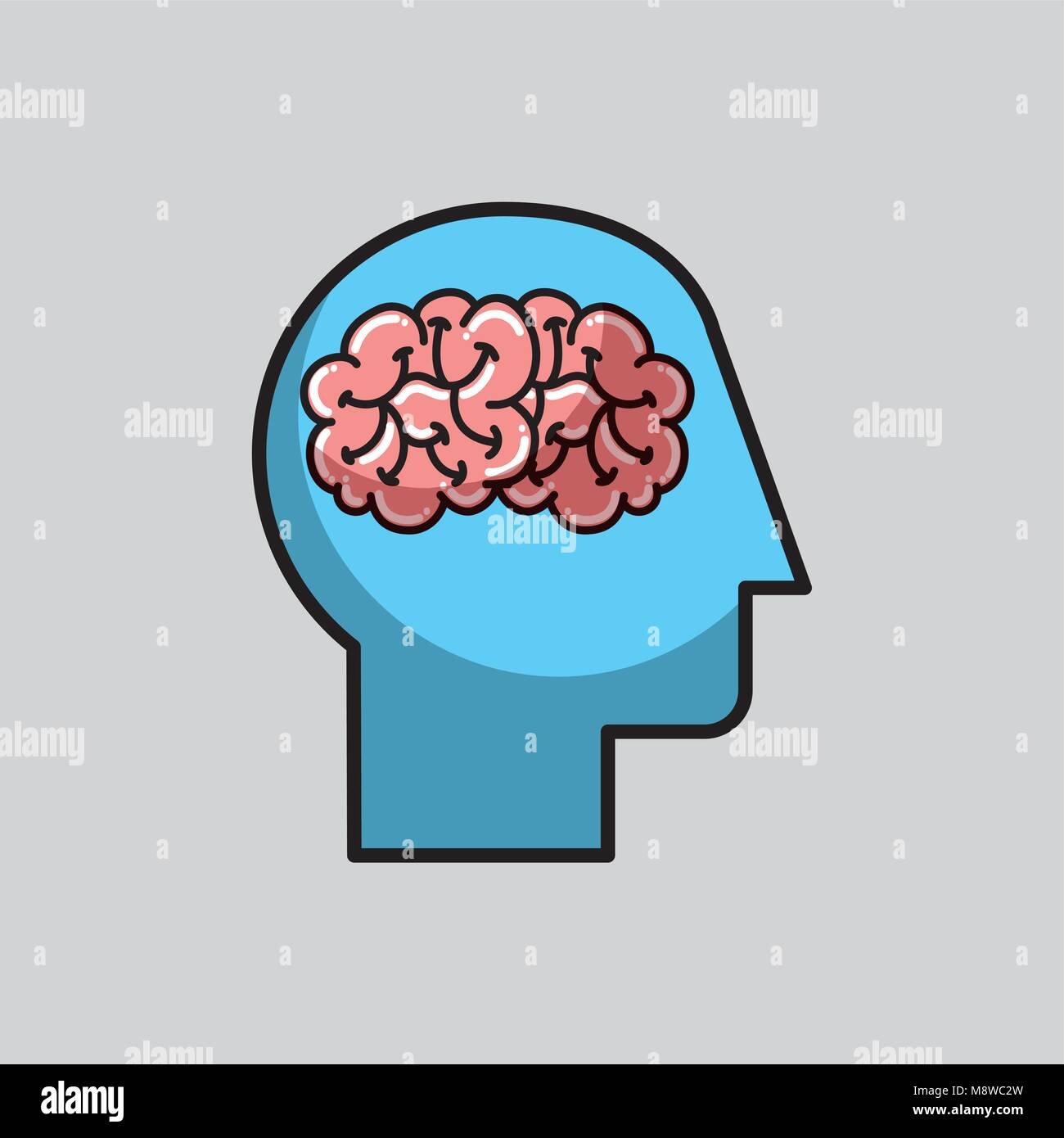 Silueta cabeza humana medical Imagen De Stock