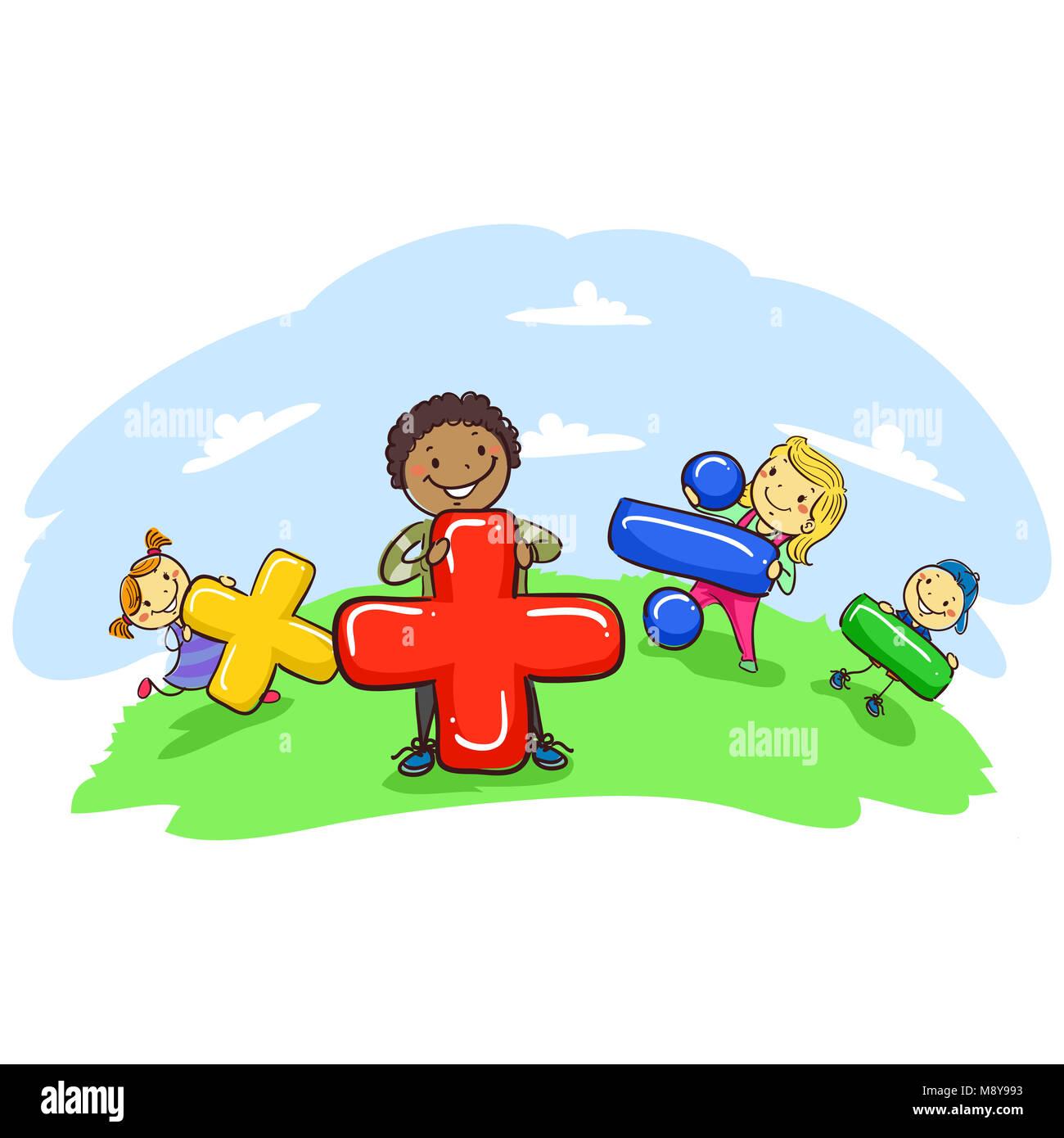 Ilustracion Vectorial De Stick Kids Celebracion De Simbolos