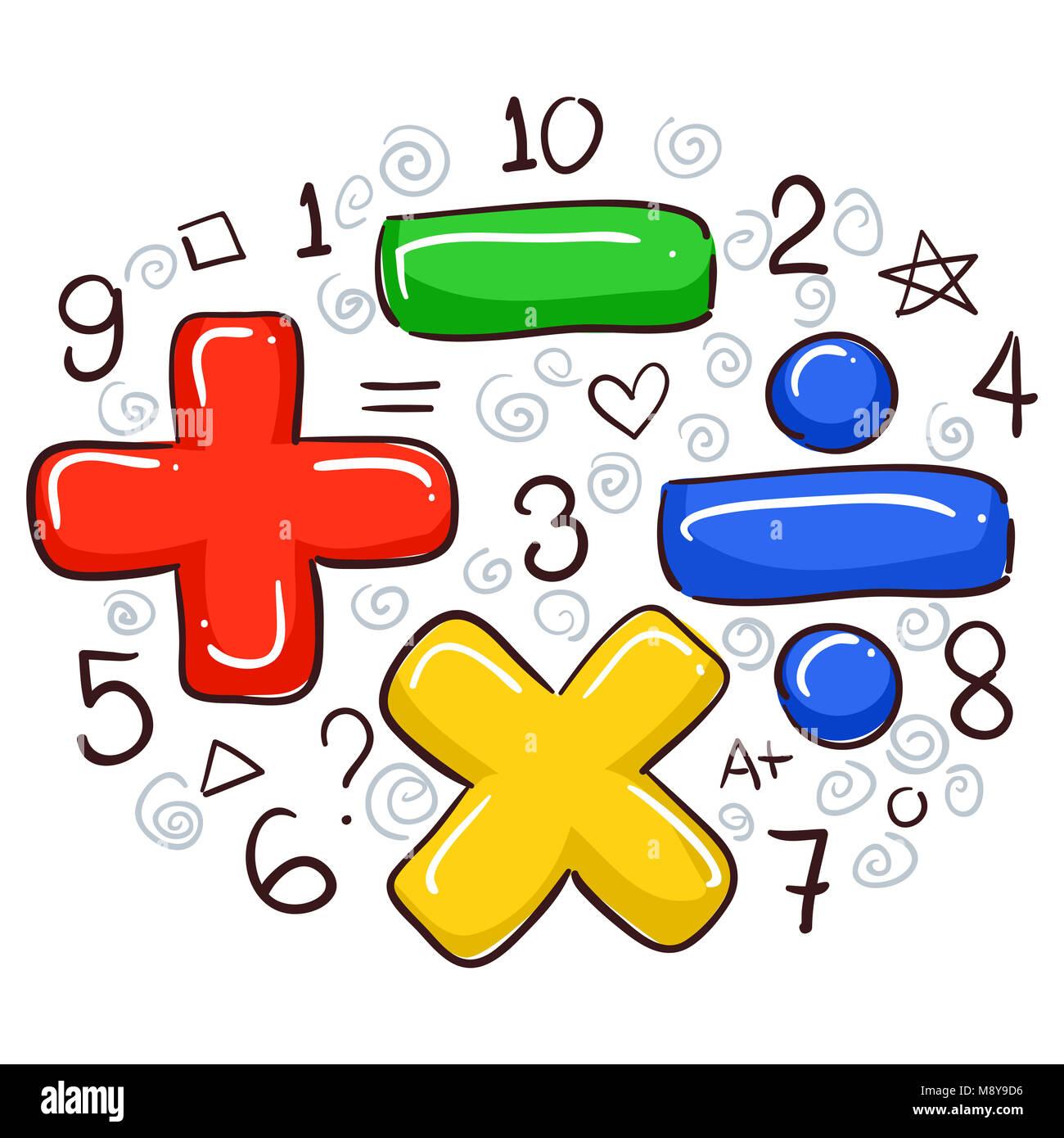 Ilustracion De Los Simbolos Matematicos Y Numeros Foto Imagen De