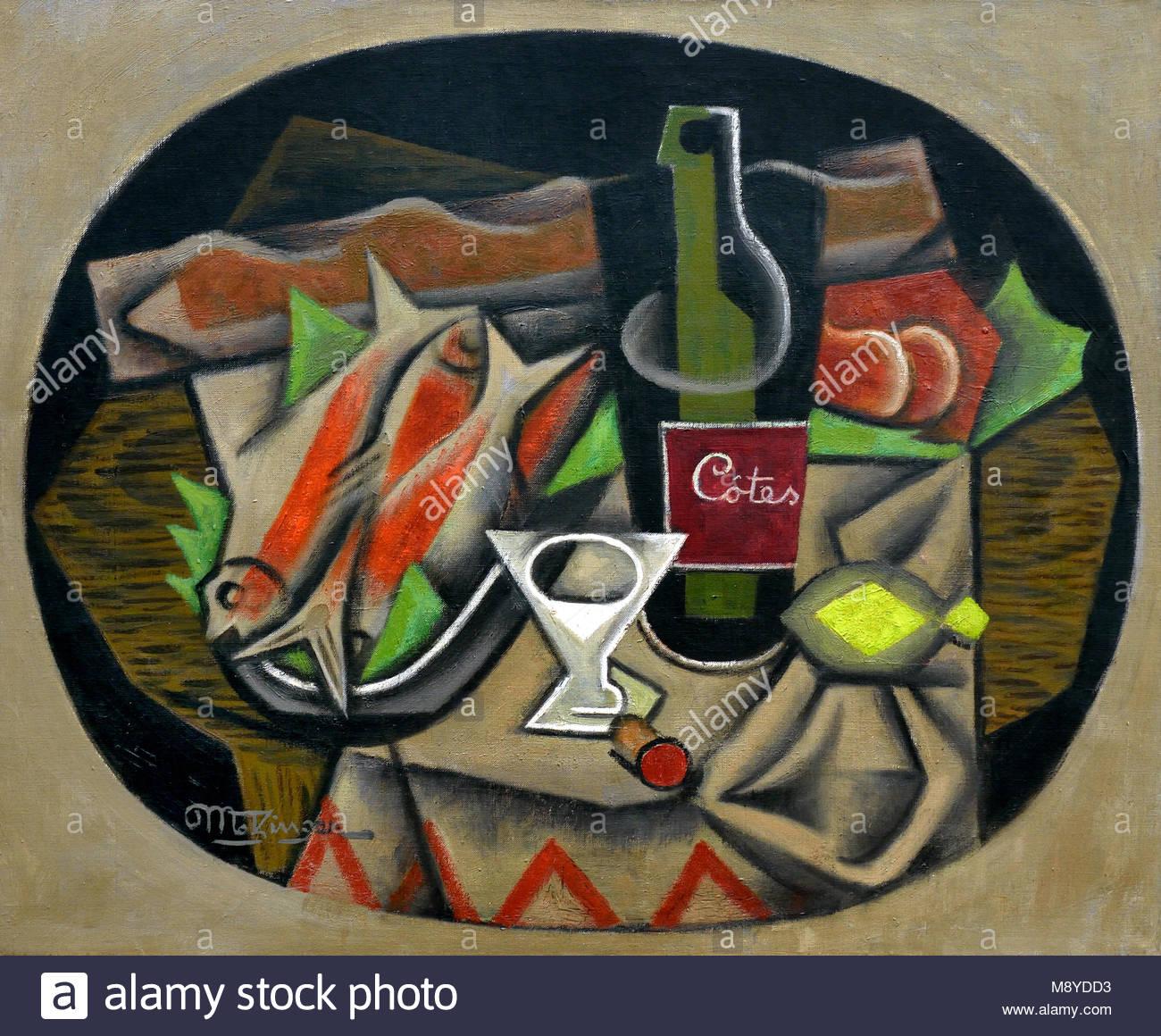 Nature mort aux Poissons - Bodegón con pescado 1917 por Jean Metzinger 1883 - 1956 Francia Imagen De Stock