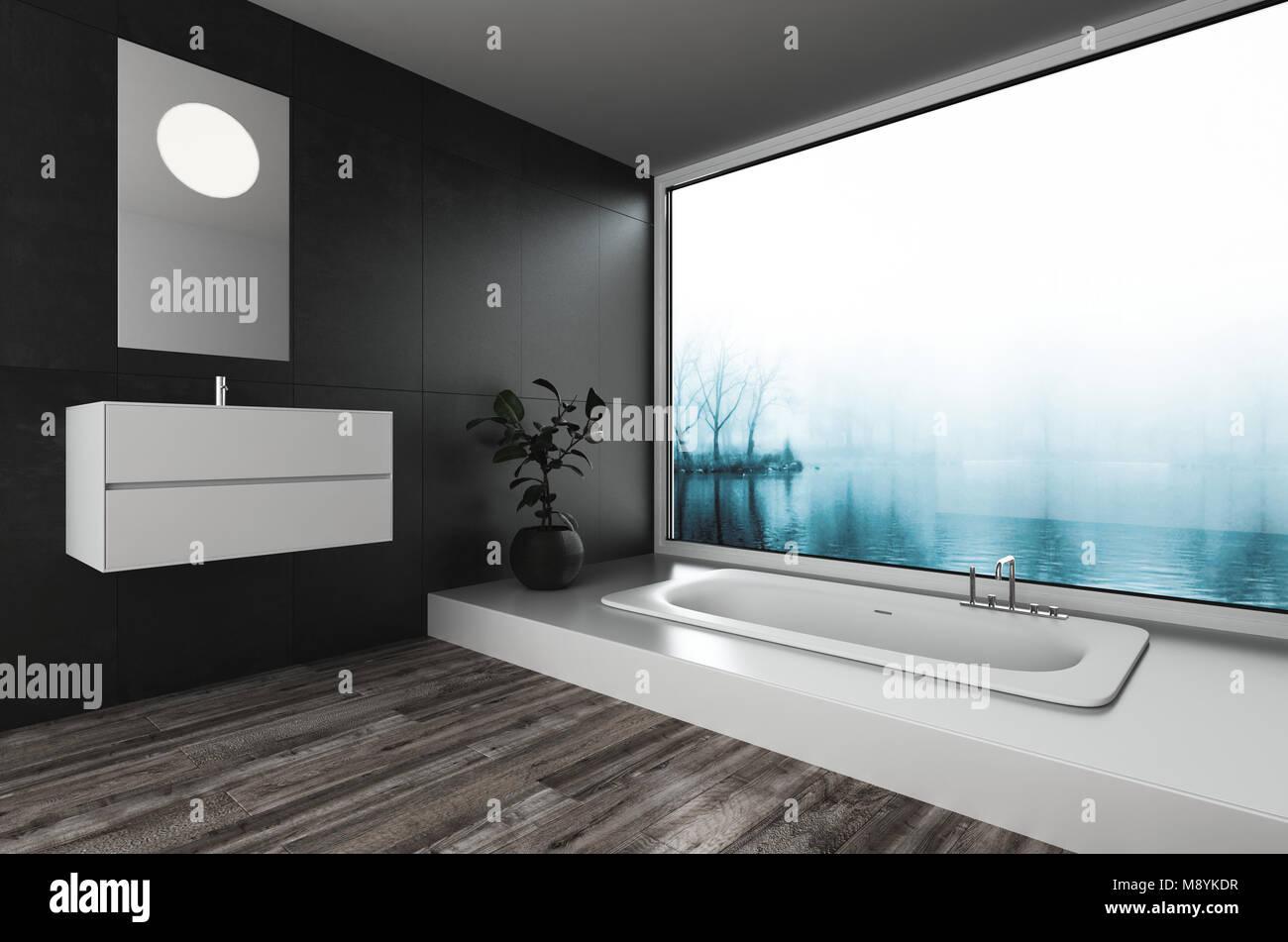 Moderno y lujoso cuarto de baño con bañera incorporada y montada en ...
