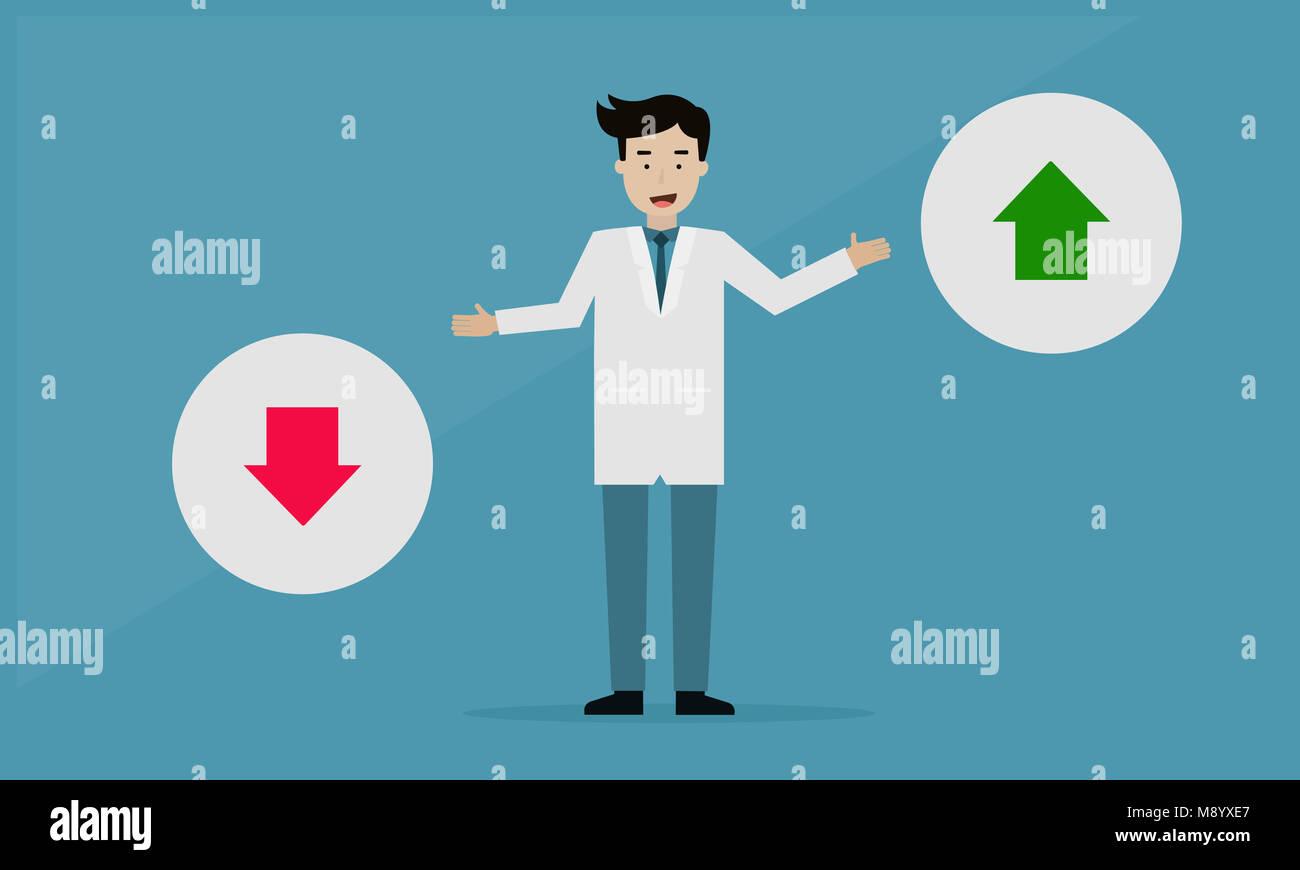 Doctor de buena o mala salud, concepto gráfico Info. Foto de stock