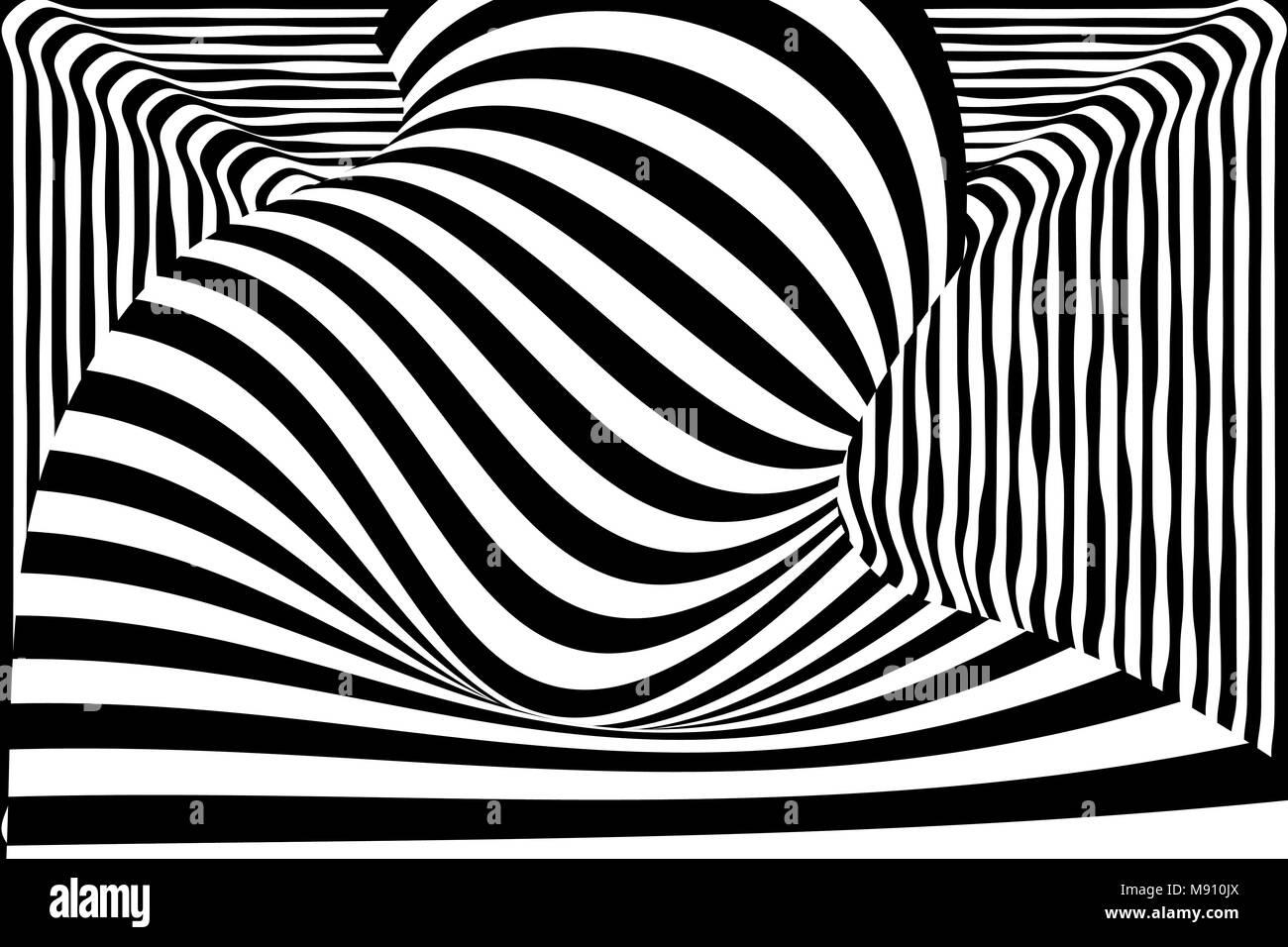 d39a83d535 Blanco y negro distorsión de la línea 3d ilusión Ilustración del ...