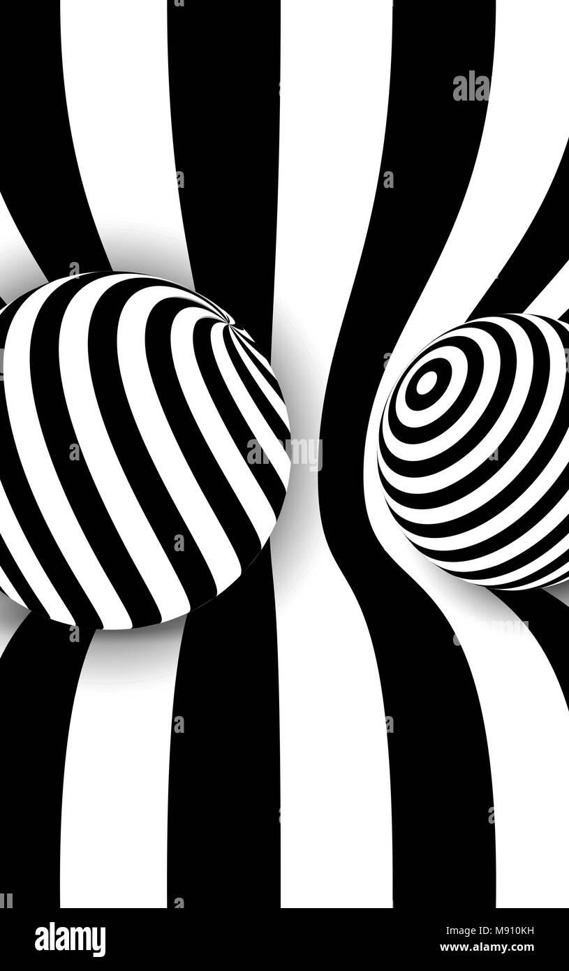 c57947d4e3 Línea 3D blanco y negro bola de distorsión ilusión Ilustración del ...