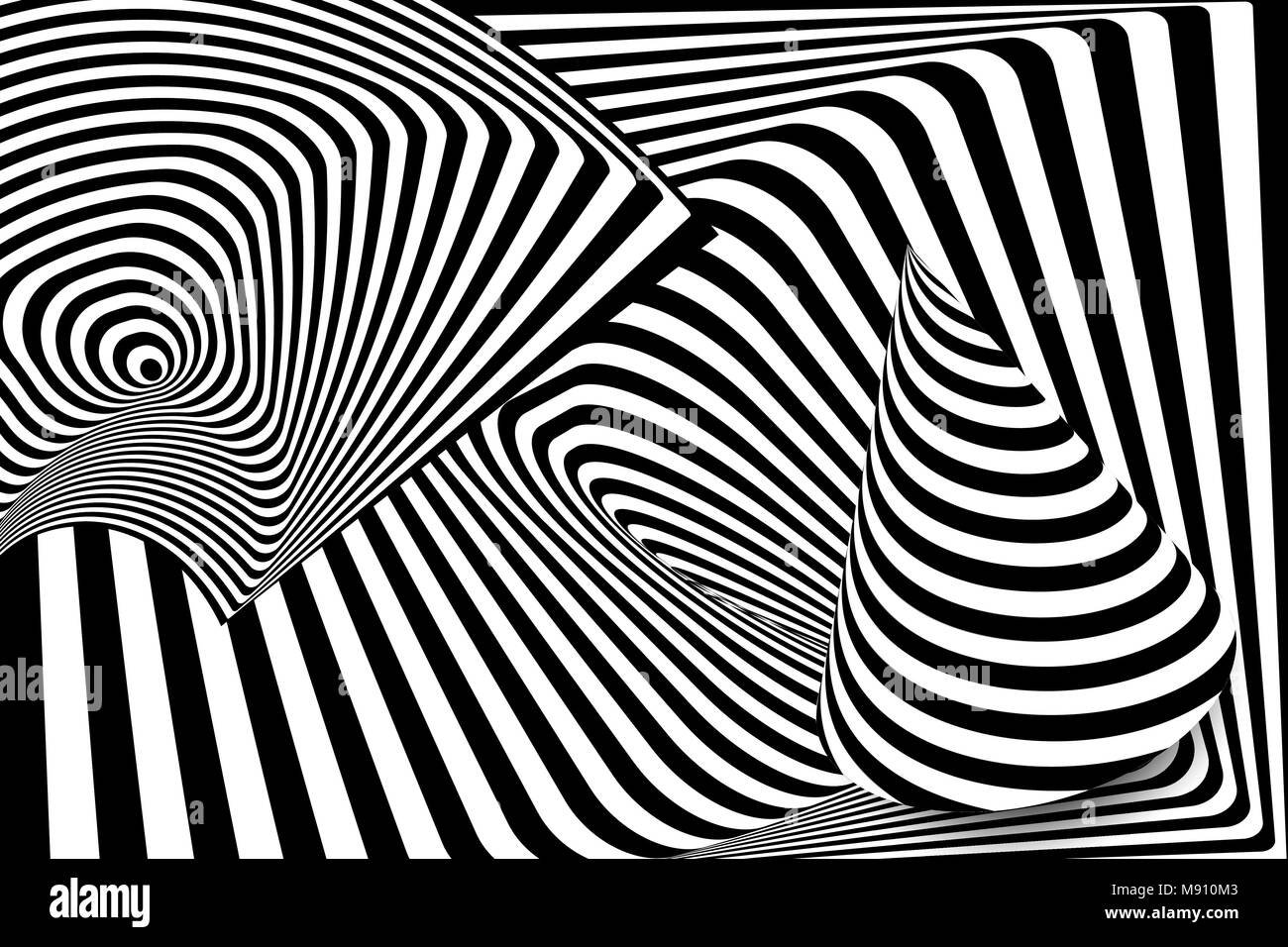d10b4ab9d7 Blanco y negro distorsión de la línea 3d ilusión cono Ilustración ...