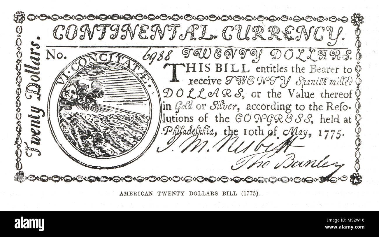 , Expedida por el Congreso Continental, la guerra de la independencia americana, 1775-1783 Foto de stock