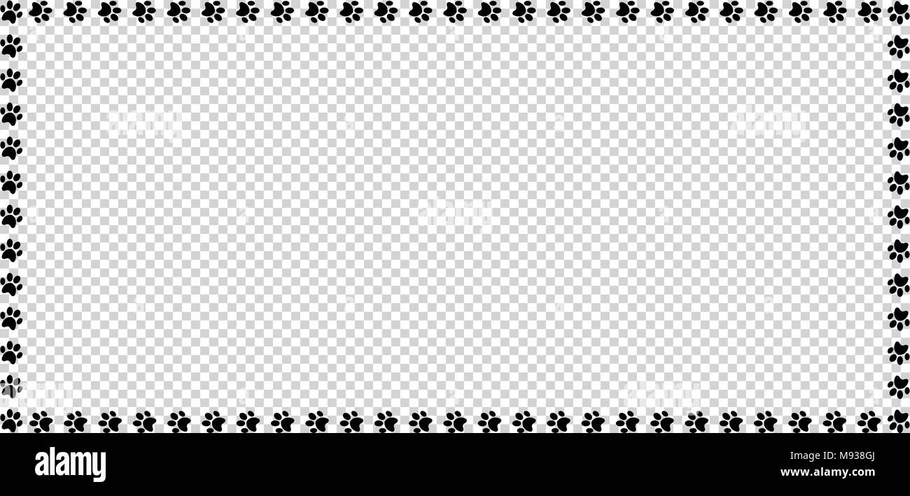 Marco rectangular hecha de huellas de animales negro sobre fondo ...