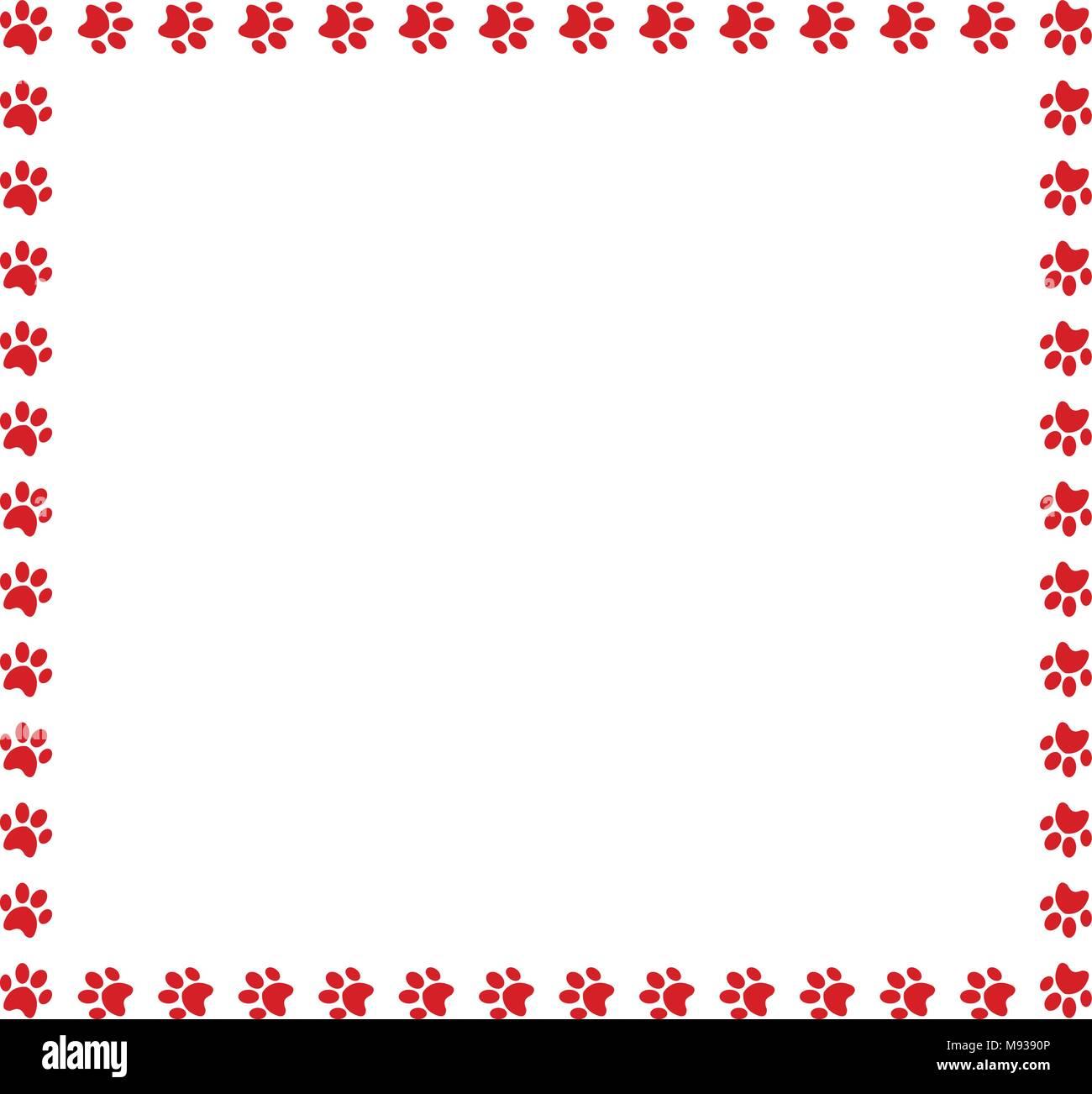 Bastidor Cuadrado de huellas animales rojos sobre fondo blanco ...
