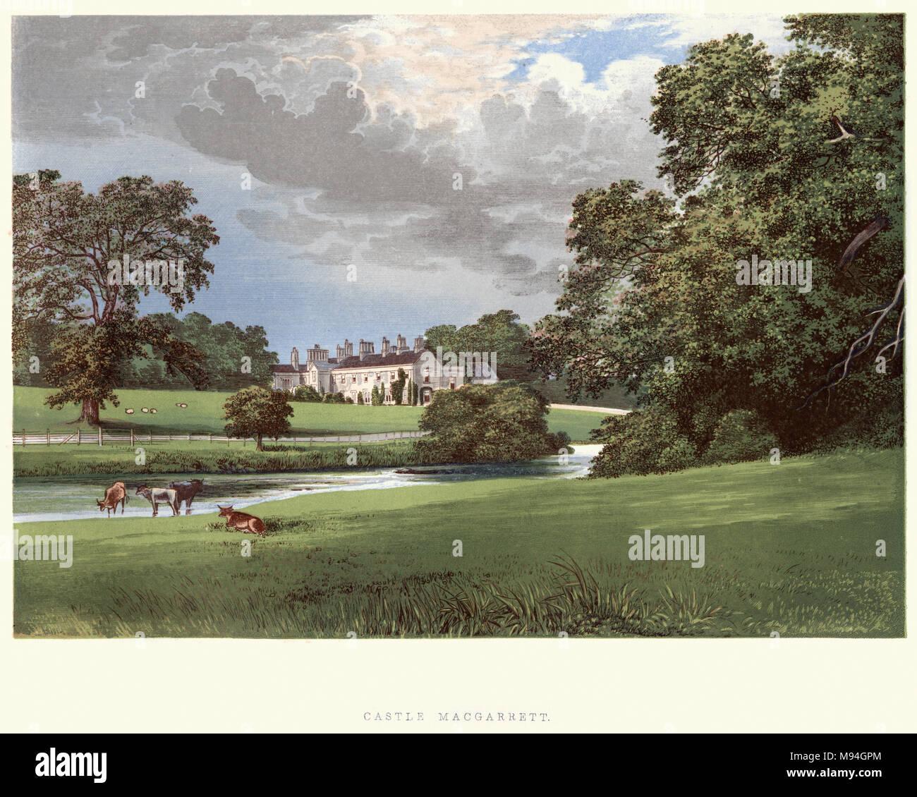 Castillo MacGarrett County Mayo, Irlanda del siglo XIX. Imagen De Stock