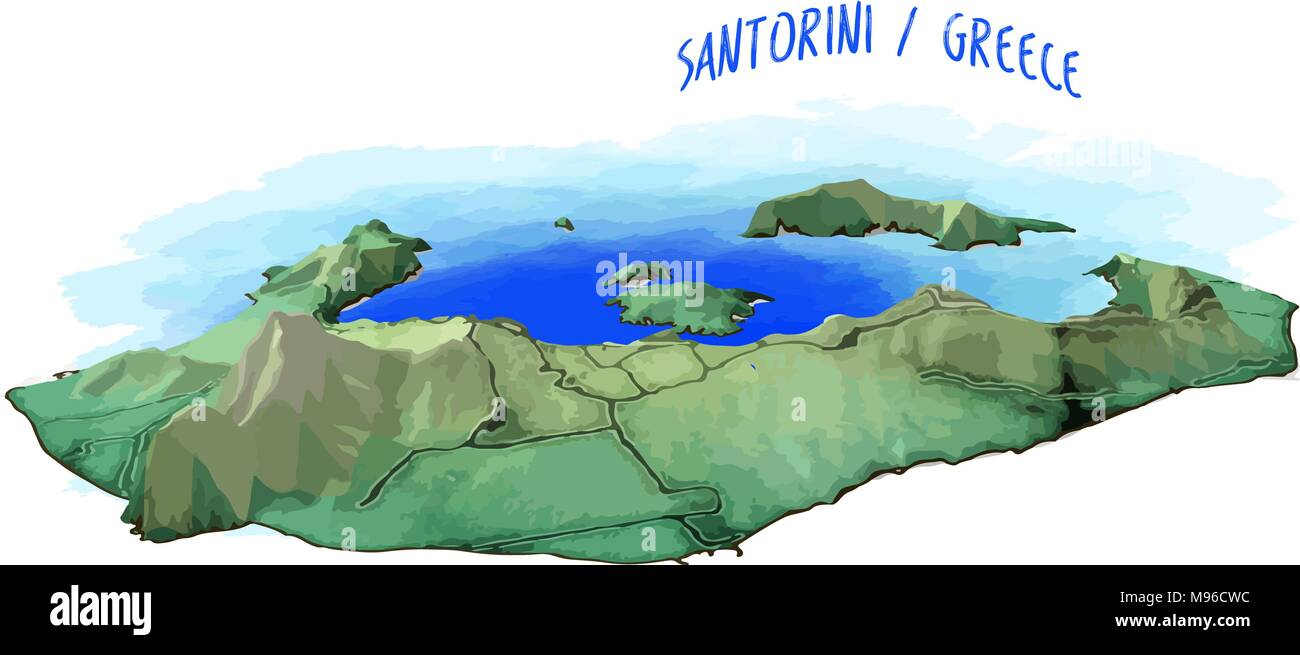3d Mapa De La Isla De Santorini Ilustracion Vectorial