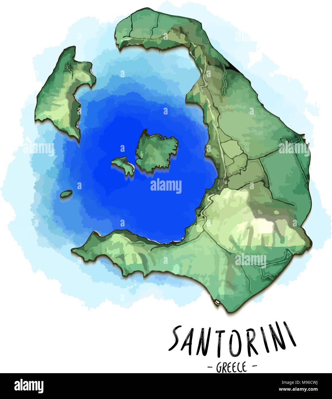 Mapa 3d De Santorini Ilustracion Vectorial Detallado Con El