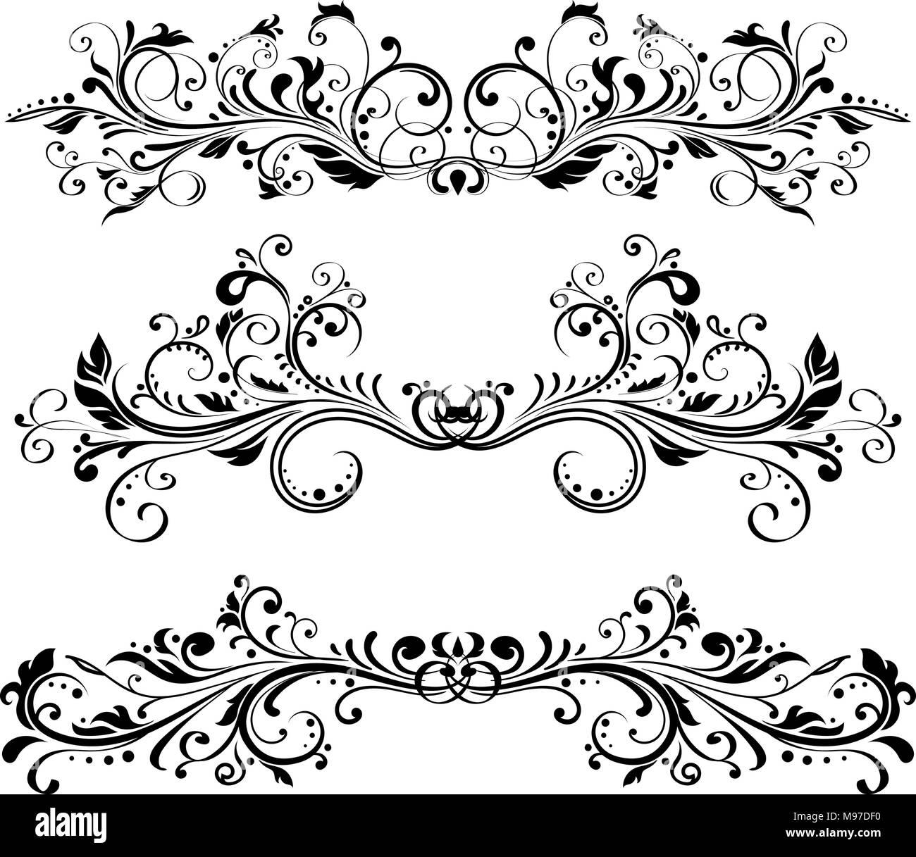 Los divisores de cosecha. Los ornamentos florales Imagen De Stock